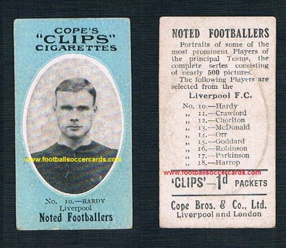 1909 Cope Brothers Noted Footballers 500 series Liverpool 10 Sam Hardy